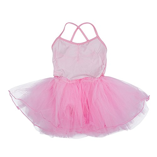 Fevas Girls Fairy Dress Ballet Tutu Leotard 5-6T - Light Pink