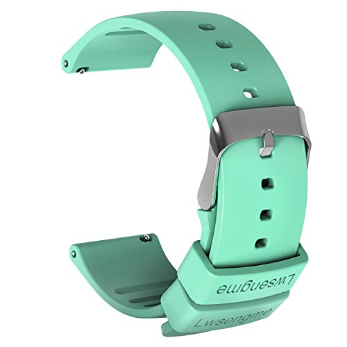 Teal Replacement - Lwsengme Silicone Watch Replacement Band with Quick Release-Choose Color & Width (20mm,22mm) & Length-Soft Rubber Watch Strap (Teal, 20mm)