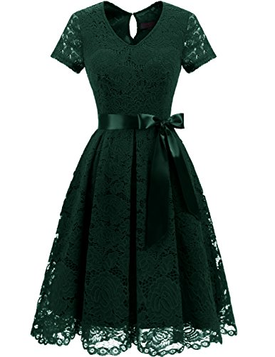 (DRESSTELLS Women's Elegant Bridesmaid Dress Floral Lace Party Swing Dresses with Short Sleeves DarkGreen 3XL)