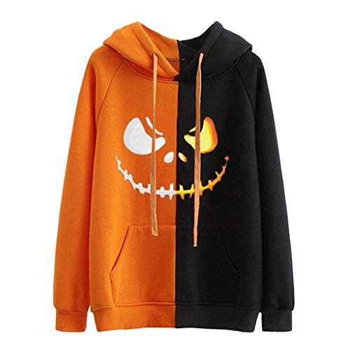 KLFGJ Women's Halloween Pumpkin Face Long Sleeve Hoodie Sweatshirts Casual Hooded Pullover ()