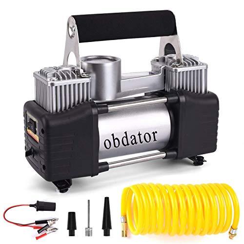 Air Compressor Pump, OBDATOR Portable Car Tire Inflator 150PSI Dual Cylinder Auto Tire Pump for SUVs, Trucks,Vans, RVs ()