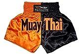 EVO Fitness Muay Thai Shorts Girls MMA Kick Boxing Martial Arts Fight Gear (Black & Orange, S)