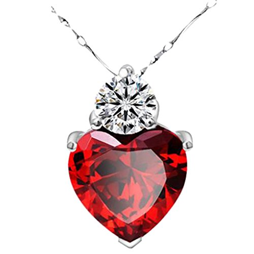 (Daoroka Women Necklace Sterling Silver Red Garnet Heart Crystal Pendant Jewelry Valentine Gift (20+6.5cm, Red))