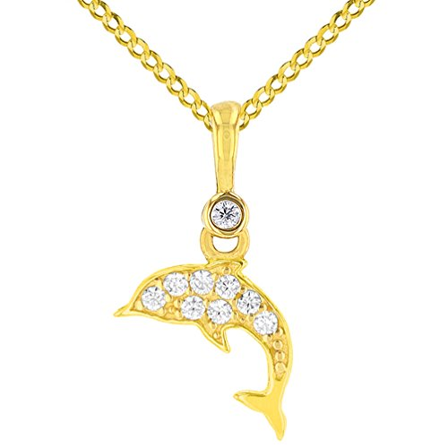 (Solid 14K Yellow Gold Cubic Zirconia Studded Dainty Dolphin Charm Sea Life Pendant with Cuban Chain Necklace, 20