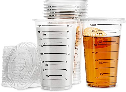 (24 Cups + 24 Lids) - Disposable Measuring Cup With Lids - 16 OZ - 2 Cup - For Mixing Resin/Epoxy Paint - Cooking/Baking/Diet - Clear Plastic and Fully Transparent. Bulk Pack