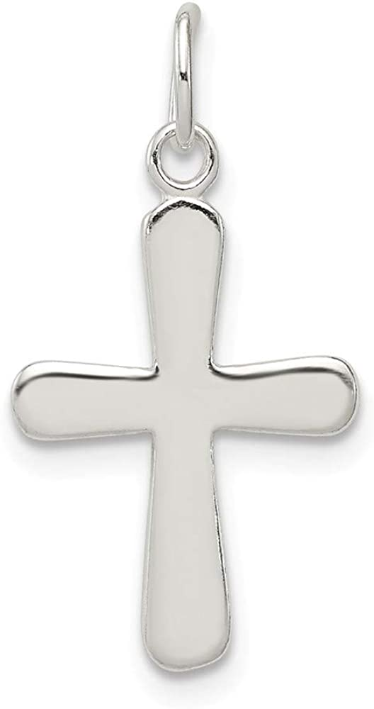 Solid 925 Sterling Silver Cross Charm Pendant 22mm x 12mm