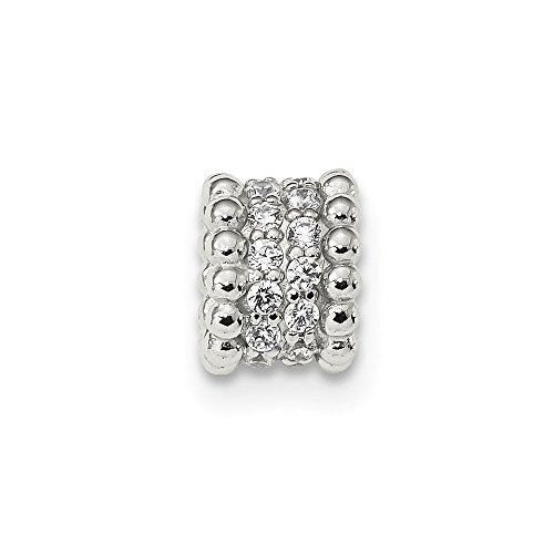 7mm Sterling Silver Cubic Zirconia Chain Slide by JewelryWeb
