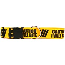 "Yellow Dog Design 2"" Caution I Will Bite Dog Collar 1"" Wide And Fits Neck 18 To 28"", Large"