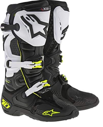 Alpinestars Men's Tech 10 Boots (Black/White/Yellow, Size 14)