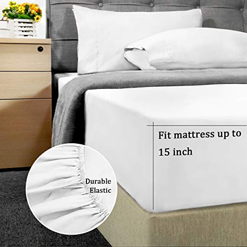 HOMEIDEAS Bed Sheets Set Extra Soft Brushed Microfiber 1800 Bedding Sheets - Deep Pocket, Hypoallergenic, Wrinkle & Fade Free - 4 Piece(Queen,White)