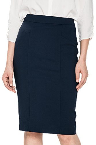 Glostory Women's Sexy Bodycon Fitted Pull On Knee Length Solid Midi Pencil Skirt WQZ-1405 (42, Dark blue )