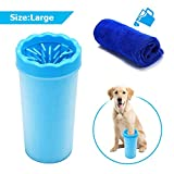 Image of FOCUSPET Portable Dog Paw Cleaner, 9 Inch Large High Soft Silicone Pet Foot Washing Cleaning Brush Cup with 11.8 x 11.8 inch Towel
