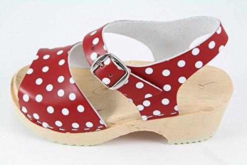 Carlotti - Zuecos de cuero para mujer rojo rojo