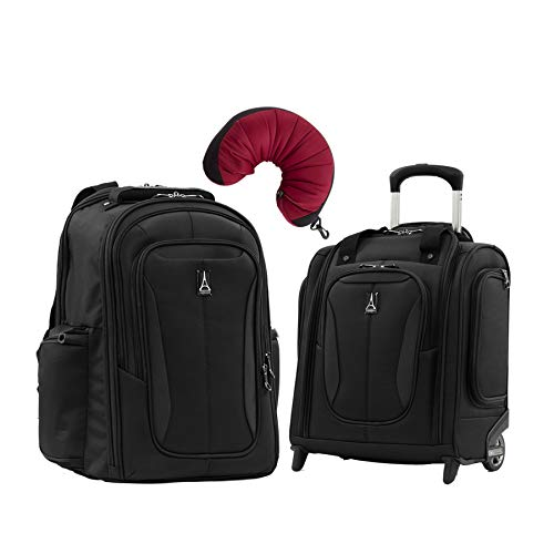 Travelpro Tourlite 2-Piece Set: Laptop Backpack & Underseat Bag with Travel Pillow (Black)