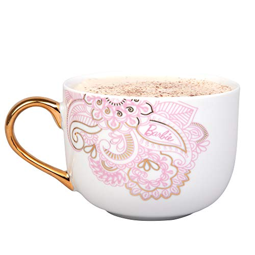 Barbie Coffee Latte Mug - Pretty Pinache Gold and Pink Paisley Design - 20 oz