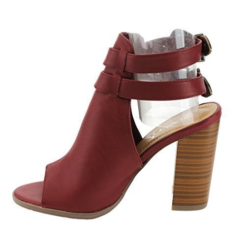Peep Toe Buckle Strap Chunky Stacked Heel Ankle Booties, Color:WINE, Size:10 (Wine Colour)