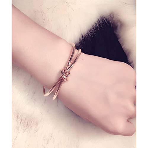 Global Huntress Pkg of 5 Iconic Popular Rose Gold Love Knot Bangle Bracelet Cuff Women's Adjustable Knot ()
