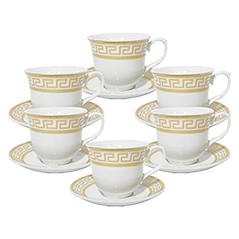 66c3d1e4a3 Amazon.com | Set of 12 Gold Greek Key Design Tea Cup Saucer Set for ...