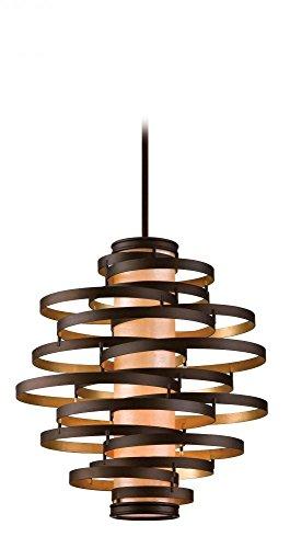Bronze Corbett Lighting (Corbett 28574344 Corbett Four Light Bronze/Gold Leaf Down Pendant - 782042972162)