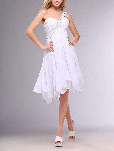 Knee Women's Line Shoulder One Sleeveless Dresses Length A Dearta White Cocktail YwPqfwB