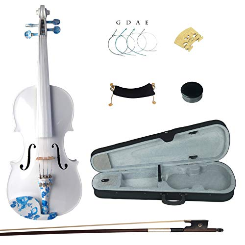 Kinglos 4/4 White Colored Ebony Fitted Solid Wood Violin Kit with Case