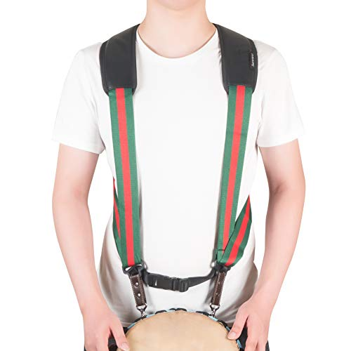 2019 New Djembe Strap Hand Drum Shoulder Strap Harness Percussion Instrument Belt (Green&red)