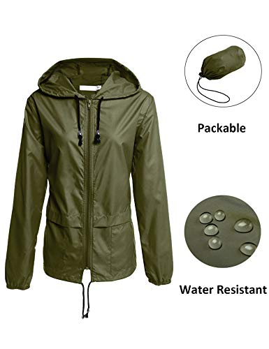 LOMON Waterproof Lightweight Rain Jacket Active Outdoor Hooded Raincoat for Women Army Green S