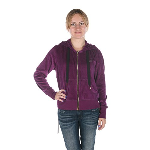 True Religion VELOUR CROPPED ZIP UP HOODIE in BOYSENBERRY WC051TQ2-6602