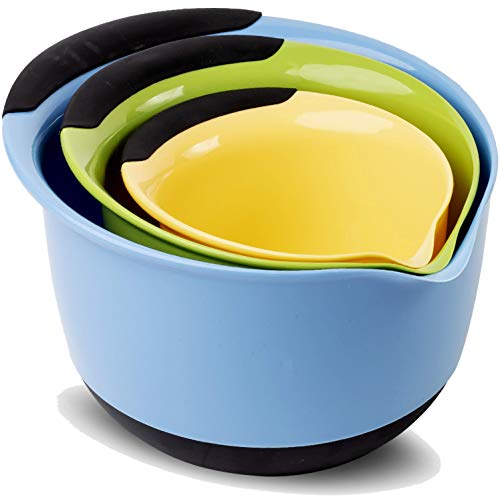 Premium Plastic Mixing Bowls (Set of 3) Sizes: 1.5, 3 & 5 QT - With Non Slip Bottom & Pouring Spout. For Healthy Cooking & Baking, Nesting and Stackable Free - Bowl Mixing Set Plastic