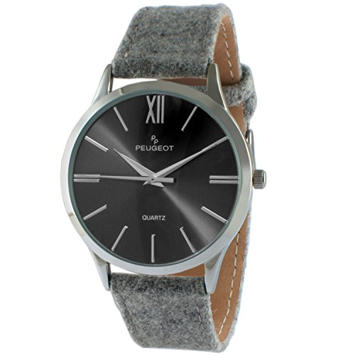 Peugeot Women's 'Slim Case' Quartz Metal and Canvas Casual Watch, Color:Grey (Model: 2058GY)