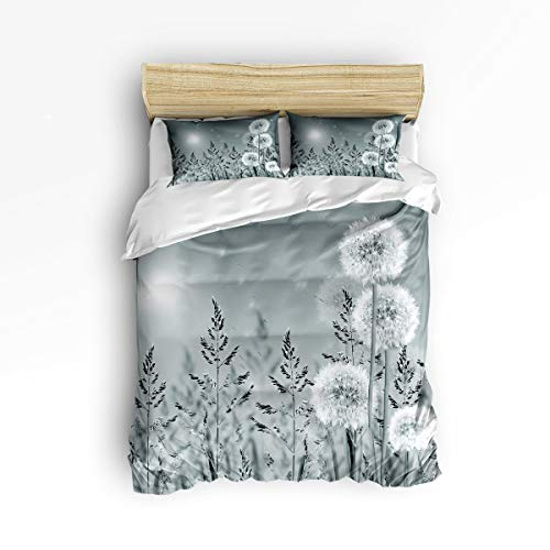 (Dragonfly 3 Piece Bedding Set Comforter Cover Twin Size, Spring Dandelions Botany Blossoming Petals Essence of Nature Growth Theme,Duvet Cover Set Bedspread Daybed with Zipper Closure for)