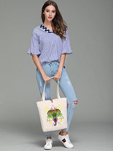 So'each Women's Elephant Graphic Top Handle Canvas Tote Shoulder Bag