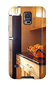 Pretty AoKQmAX2840FVzhV Galaxy S5 Case Cover/ Light Wood Kitchen Cabinets With Black Countertops Series High Quality Case