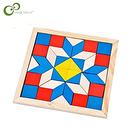 Amazoncom Fun Geometry Rhombus Tangrams Logic Puzzles Wooden For