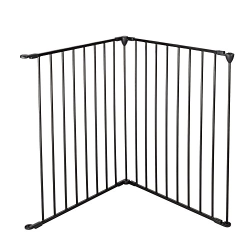 Bonnlo 50-inch 2-Panel Baby Safety Gate/Fence/Play Yard/Playpen Extension Kit for Toddler/Pet/Dog/Cat, Black ()
