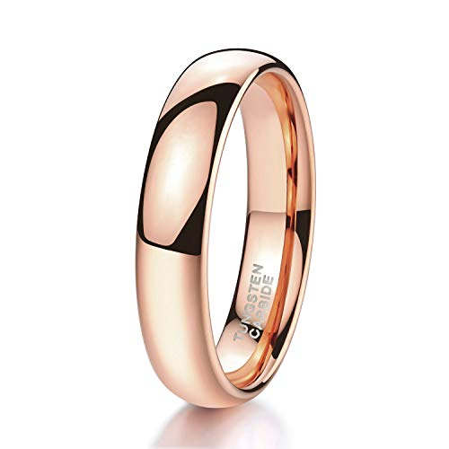 Shuremaster His & Hers Tungsten Wedding Ring Bands Rose Gold Plated Dome Plain High Polish 4mm Size 7.5 (High Set Gold)