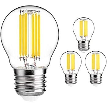 HzSane G45(A15) 6W Antique Edison Style LED Filament Light Bulb, 6000K Daylight White, 600LM, E26 Base Lamp, 60W Incandescent Equivalent, Dimmable, 4-Pack