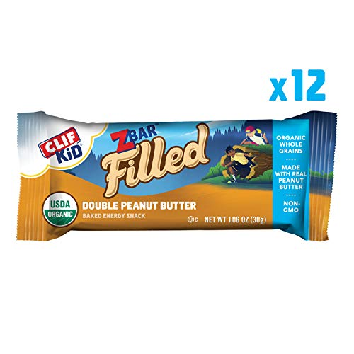 CLIF KID ZBAR FILLED - Organic Energy Bar - Double Peanut Butter - (1.06 Ounce Snack Bar, 12 Count) (Packaging May Vary)