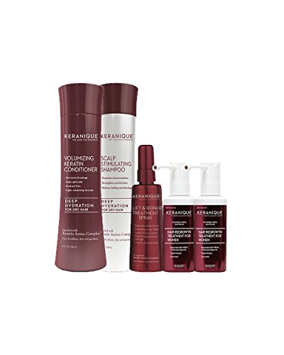 Kit Hydrating (Keranique Deep Hydrating Hair Growth Kit – 60 Days | Keratin Amino Complex, Free of Sulfates, Dyes and Parabens | Deep Hydrating Shampoo & Conditioner, Dual Minoxidil, Lift and Repair Treatment Spray)