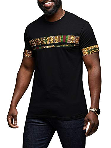 Makkrom Mens African Tribal Dashiki Floral Short Sleeve Graphic T Shirt Blouse ()