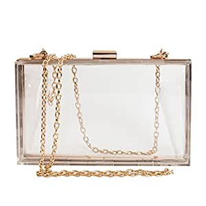 SharPlus Women Cute Transparent Clear See Through Box Clutch Acrylic Evening Handbag Cross-Body Purse Bag