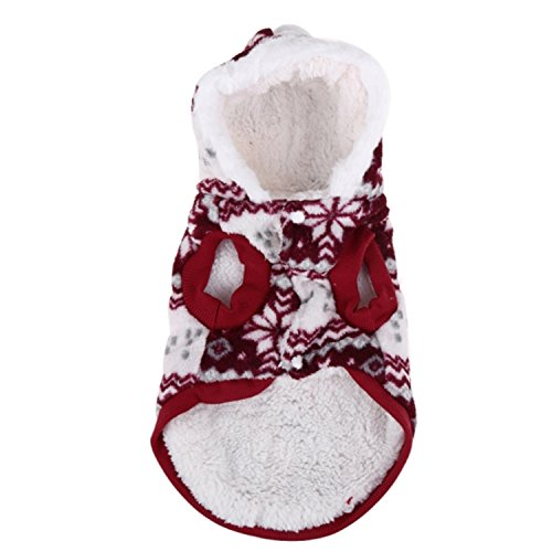 Dog Game Of Thrones Costume (HuoGuo Cozy Coral Fleece Pet Dog Hoodie Coat Snowflake Soft Dog Clothes Pet Christmas Costume Winter Warm Puppy Dog Jacket Pet Coat Wine red XL)