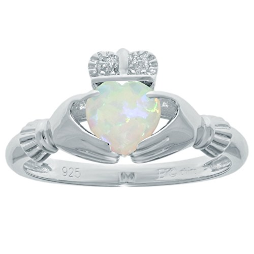 .39 Ct Heart White Opal and Diamond Accent 925 Sterling Silver Ring Size 8