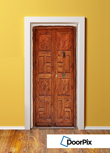 DoorPix 36x80 Inch  3D Door Mural Wrap Matte Bubble Free Sticker 8-Panel Cherry-Toned Vintage Wood Door - PEEL and STICK - Easy-to-clean, Durable - Cherry Panel