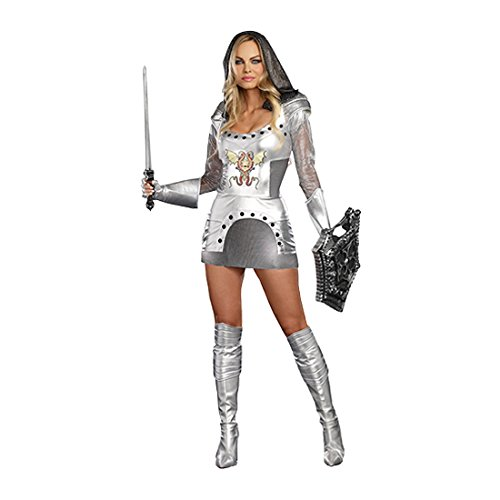 Dreamgirl Women's Knight Time Royal Warrior Costume, Silver, Small