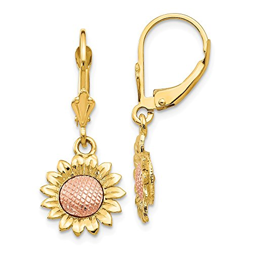 14k Two Tone Yellow Gold Sunflower Drop Dangle Chandelier Leverback Earrings Lever Back Flower Gardening Fine Jewelry Gifts For Women For Her