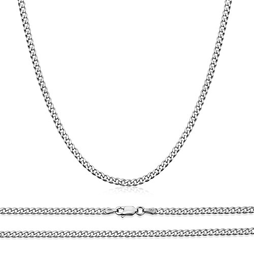 080 Curb 3mm Chain - Sterling Silver Chain 3MM Curb 080 Gauge Chain Necklaces 18