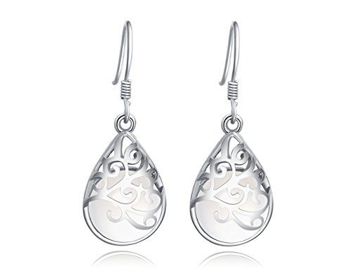 (Wishing Tree 925 Sterling Silver Teardrop Filigree Dangle Earrings for Women … (Classical)