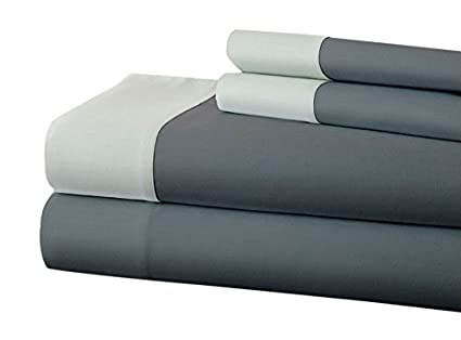 Super Soft 400 Thread Count 100/% Combed Cotton Bed Sheet Set with Contrast Hem Amrapur Overseas Linen//Mocha, Full