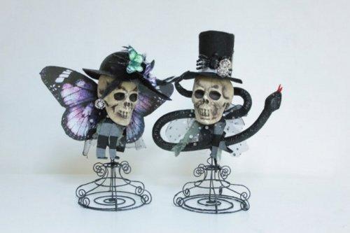 Set of 2 Voodoo Halloween Skulls with Hats Decorative Figures on Wired Stands